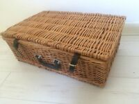 Second hand wicker picnic hamper and new Thermos flask