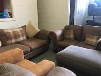3 and 2 seater tan coloured sofas ex photo shoot models only 449