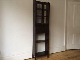 Antique Tall Thin Writing Bureau Worn Vintage Patina Display Cupboard Cabinet