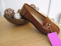TAN LOAFERS SIZE 6/7 NEW IN BOX