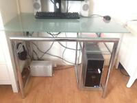 Computer work desk table, glass top