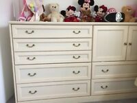 Solid wood drawers chest & bed side cabinet
