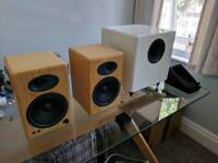 Audioengine A5+ Powered Speakers and Audioengine S8 Subwoofer 2.1 with Logitech Bluetooth Adapter