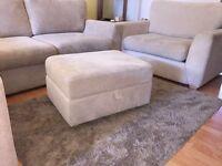 L - Shape cream fabric sofa with 2 person 'cuddle' sofa and storage footstool