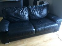 Black Leather (faux) sofa bed