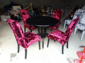 deep purple /plum stunning velvet crush chairs and round table. table and legs can be change