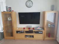 3 peice tv stand with glass doors