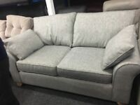 New/Ex Display Grey Grayson 2 Seater Sofa + Ottoman Footstool