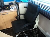 2 x Black Leather Office Chairs