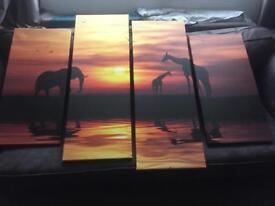 4 piece Safari canvas wall art
