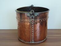 Large antique riveted copper log bin in excellent condition