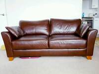 Brown Faux Leather 2/3 Seater Sofa
