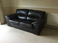 Dark brown leather 2 and 3 seater sofas with foot stool