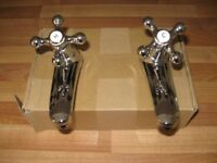 pair of bathroom basin traditional style taps