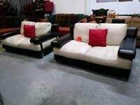 Cream leather sofas x2 for 150 the pair