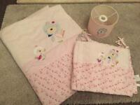 Next girls Floral Cot Bedding Set & Light Shade