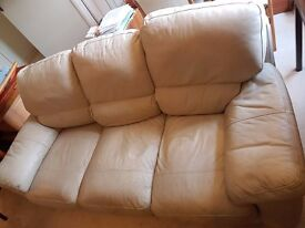 Leather Sofa, 3-seater, ivory, good condition.