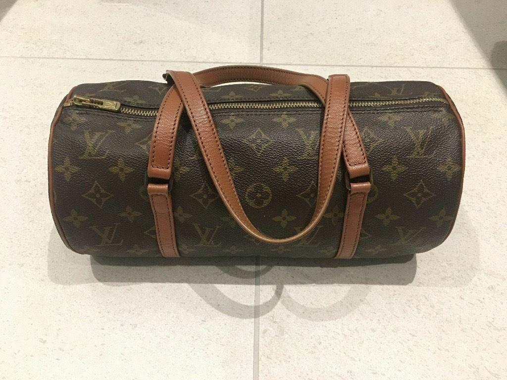 Authentic LV Louis Vuitton Papillon pouch Monogram canvas leather women s  hand bag fdf5db4b7