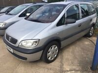 02 ZAFIRA 1.6 5 DR SILVER NO OFFERS NO WARRANTY