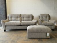 FABB SOFAS PIMLICO GREY FABRIC LOUNGE SUITE 3 SEATER SOFA ARMCHAIR FOOTSTOOL DELIVERY AVAILABLE
