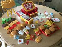 TOY MACDONALDS FOOD AND WORKING LEARNING TILL WITH CREDIT CARD AND TALKING CALCULATOR