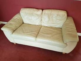 Cream 2 seater leather softer