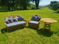 Wicker Table, Chair and Sofa - Consevtory Set