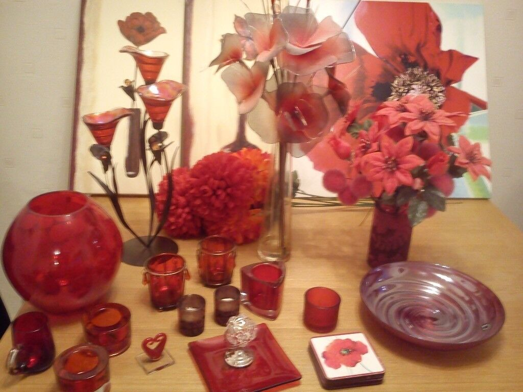 Job Lot Red Ornaments, lamp and pictures