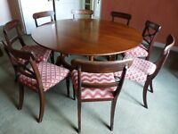 Dining room table,circular/round,castors,extends 8 to 15 places/chairs available