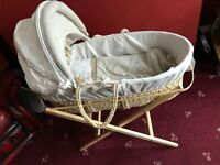 Moses basket with mattress, stand and covers