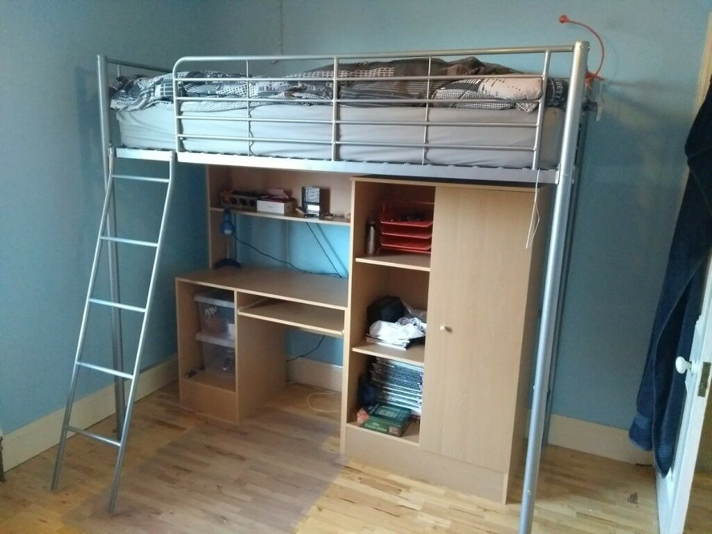 High Level Bed With Desk And Wardrobe Underneath