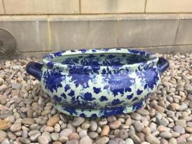 Large Chinese white and blue pottery dish