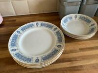 Set of 6 dinner plates and 6 bowls by Ridgway Potteries (Rhapsody Blue). Some crazing.