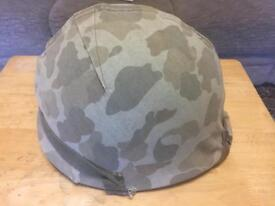 WW2 U.S. Marines Helmet with Reversible Camo Helmet Cover and Named.