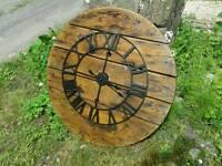 Giant industrial reel drum wall clock