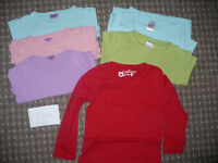 Bundle of 6 long sleeve plain tops/t-shirts for girl 3-4 years old. Good for school..