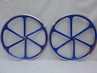 Pair 700c fixed wheel. Six spoke Mag Wheels (various colours) New