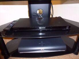 Black Glass Corner Three Tier TV Stand