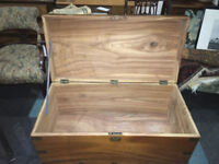 Fantastic Large Vintage Solid Wood with Metal Accents Campaign Chest Trunk Coffee Table Storage