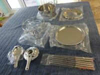 Stainless steel complete fondue set + 6 colour coded forks. New. Unused. Boxed. With instructions
