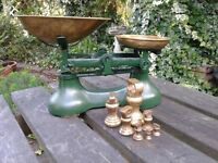 CAST IRON WITH BRASS PANS KITCHEN SCALES WITH FULL SET OF IMPERIAL BELL WEIGHTS - reduced price