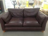 "Brown leather two seater sofa""FREE LOCAL DELIVERY """