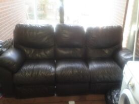 3 seater brown recliner sofa