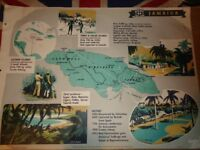 Vintage 1950's Educational Wall Poster Empire Information Project - Jamaica