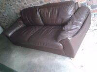 3 Seater Brown Leather Sofa - WITH DELIVERY