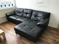 Black corner leather sofa