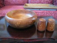 Saladier Bol à fruits et salière poivrière en bois Baribocraft