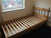 Single pine bed frame with drawers