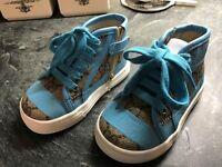 NEW Designer Gucci Ltd Ed Blue Print GG Monogram Canvas & Leather High-Top Sneakers uk4 eu20 rp£200