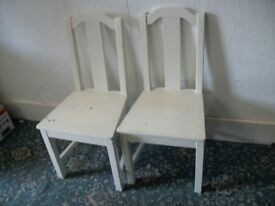 2 White Dining Chairs ID 979/7/18